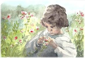 Steinhage - Kind mit Blumen