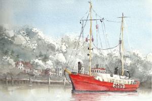 Steinhage-Aquarell-Elbe-Feuerschiff